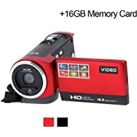 Camcorder Digital Video Camera Full HD 720P 16MP Max DVR 2.7 inch TFT LCD Screen 16X Zoom Portable DV (16GB Memory Card Included)