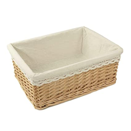 Rurality Rectangular Willow Wicker Storage Shelf Basket With Liner, Large