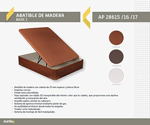 Abatible Canapé de madera Basic 3 Cerezo - Sunlay 135x182 cm: Amazon.es: Hogar