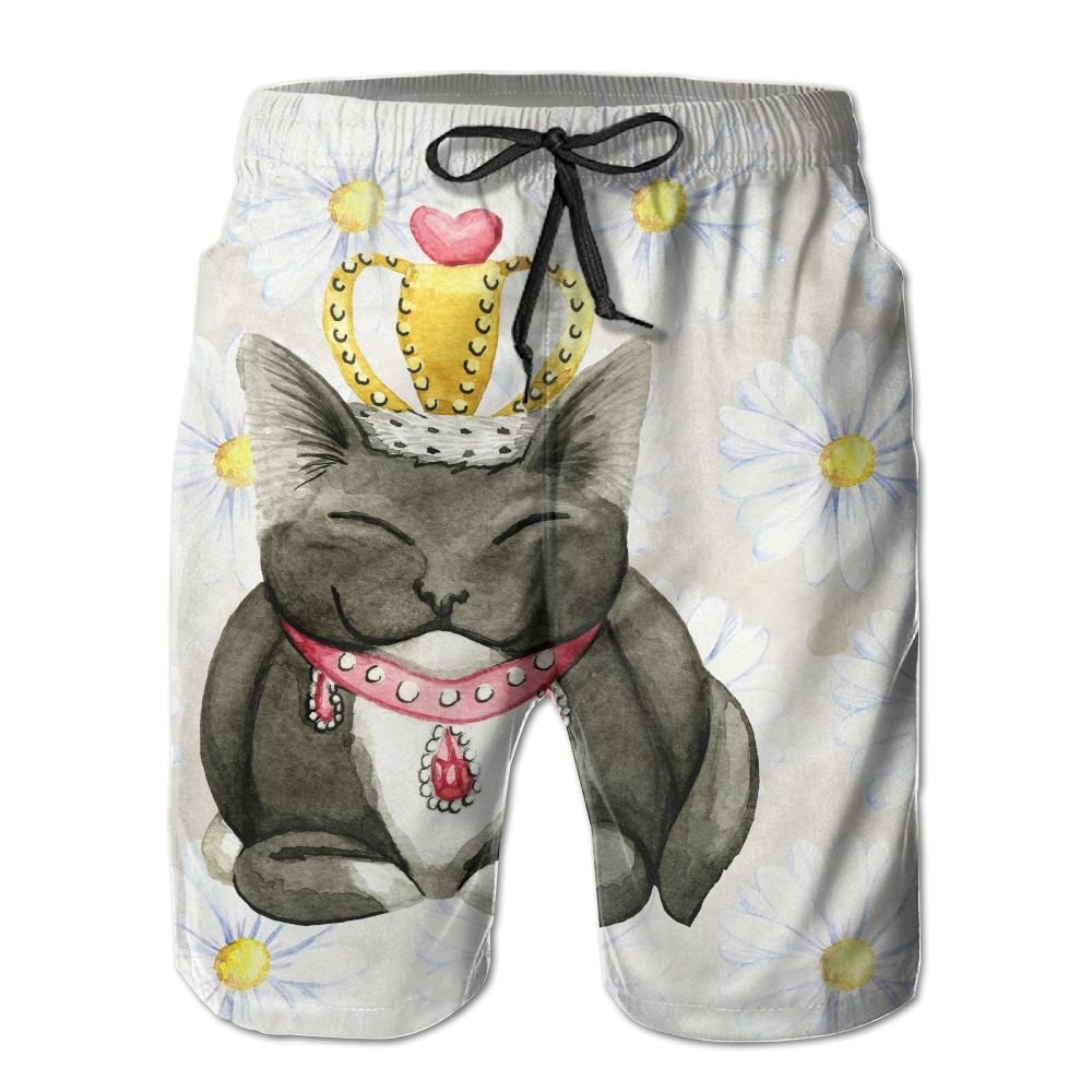 Smiling Rich Cat With Crown And Jewelry Swim Trunks Quick Dry Beach Board Shorts Men Pants Household Shorts