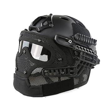 Willdo Casco táctico, casco militar táctico Airsoft Casco de combate CS General Protege máscara facial de vidrio con casco Equipo de casco - Negro: ...