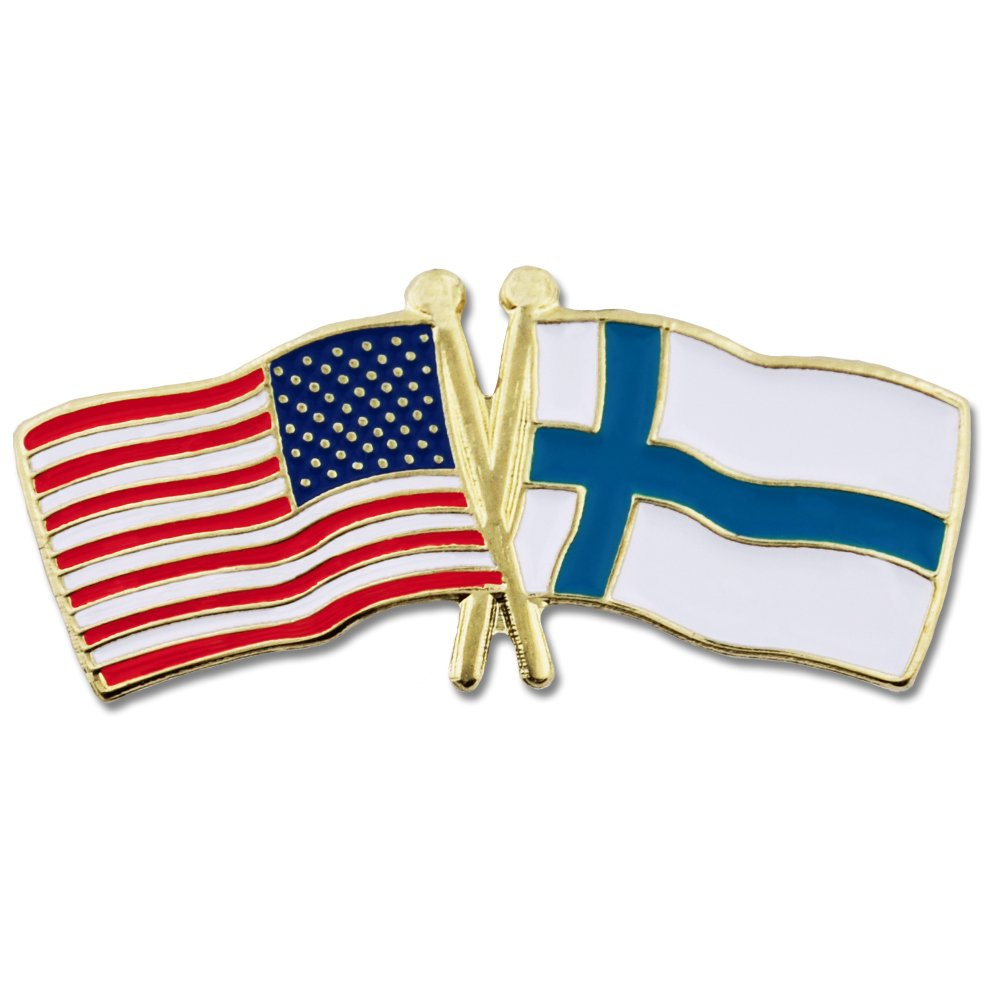 PinMart's USA and Finland Crossed Friendship Flag Enamel Lapel Pin by PinMart