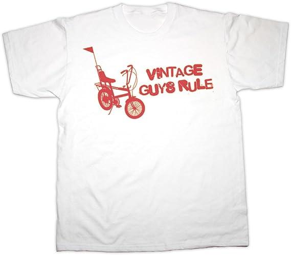 Vintage Guys Rule Chopper Bike T-shirt - S to 6XL