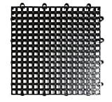 DuraGrid DNS12BLAK Non-Slip Interlocking Modular Multi-Use Safety Floor Matting (12 Pack), Black