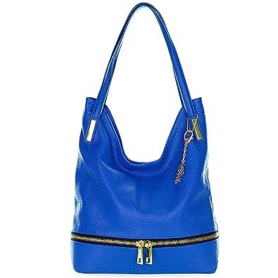 Hobo brillante bolso cuero bolsillo Classe Regina con hecho azul italiano BRUqwT