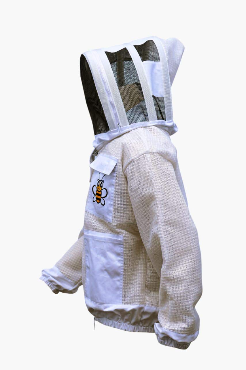 abeja ropa de apicultura ropa de protecci/ón con ventilaci/ón para apicultura Chaqueta de 3 capas de malla blanca unisex con ventilaci/ón protecci/ón contra velos ropa de apicultura blanco