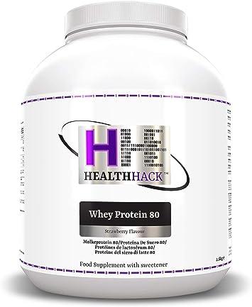 Health Hack - Proteína de suero de leche 80 %, 2,5 kg, fresa