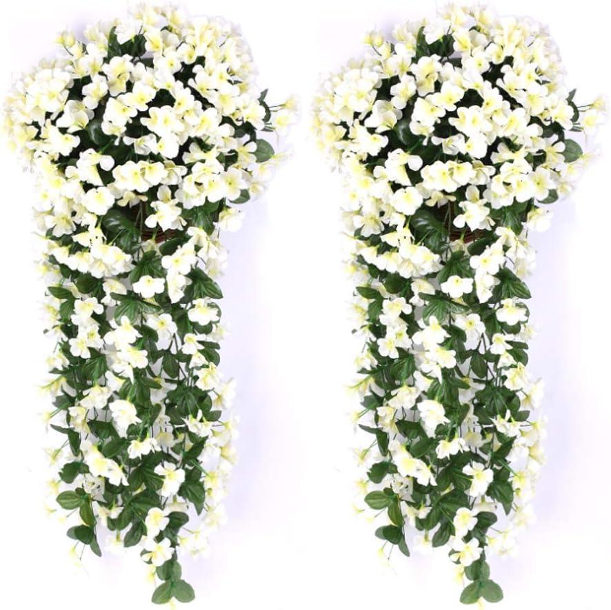 AUKUZI Artificial Violet Ivy Flowers, 2PCS Silk Hanging Basket Lifelike Garland for Home Wedding Garden Yard String Floral Decoration White