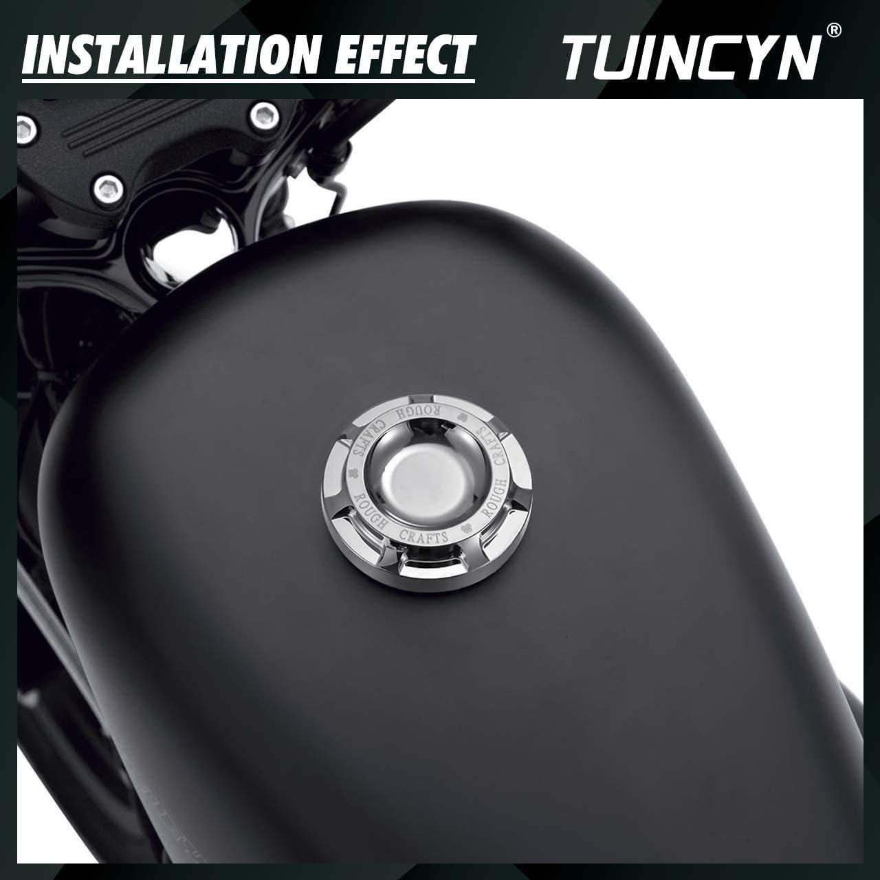 Motorcycle Silver CNC Fuel Gas Oil Cap Rough Crafts Flush Mount Billet Aluminum Fuel Tank Cap for Harley Sportster XL 1200 883 1996-2014
