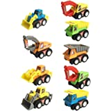 Mini Push Pull Back Car Model Kit Set Plastic 9 Pcs Play Vehicles Party favors Construction Excavator Dump Truck Playset Preschool Learning for Children Toddlers Kids Birthday Gift