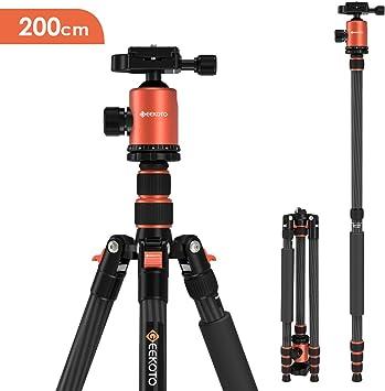 GEEKOTO - Trípode para cámara (199 cm, aluminio, trípode de viaje con monopié y rótula panorámica 360°, zapata rápida de 1/4 y funda para cámara réflex Canon, Nikon y Sony, hasta 8 kg): Amazon.es: Electrónica