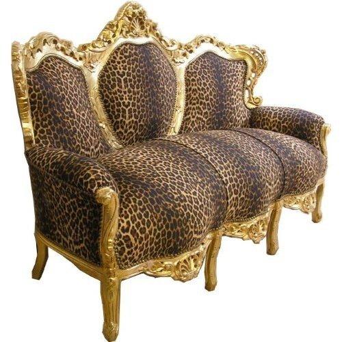 Casa Padrino Barock Sofa Garnitur 'King' Leopard/Gold Cocuh Wohnzimmer Möbel