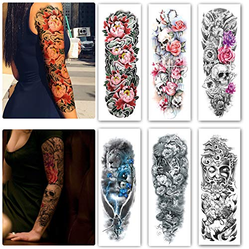 Leoars 6 Sheets Extra Large Temporary Tattoos Full Arm and Half Arm Tattoo Sleeves for Men Women