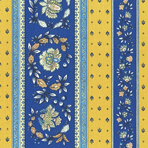 Provençal stripe floral wreath fabric (Sweden Meets Provence (Blues & Yellows)) - Luxury French 100% Cotton printed fabric - 63 inches wide   Per yard length increment (French Provence Fabric)