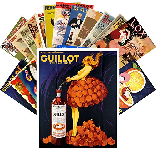 Postcard Set 24pcs Liqueur Aperitif Vintage Alcohol Ads Poster Art Deco