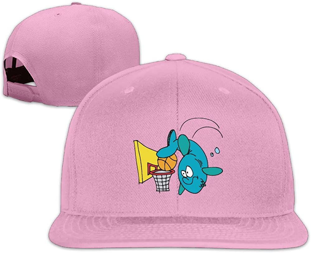 BASEE Funny Shark Playing Basketball Adjustable Flat Along Baseball Cap Black