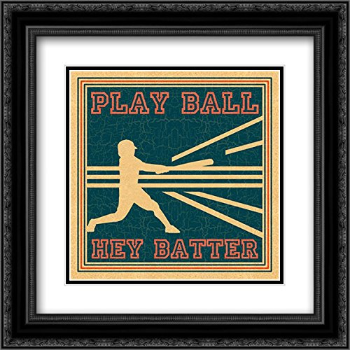 - Play Ball 15x15 Black Ornate Frame and Double Matted Art Print by Pazan, Tony