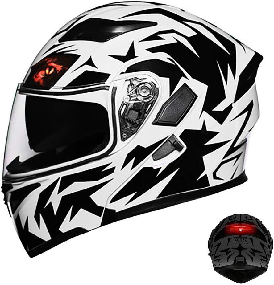 フリップアップモジュラーオートバイバイクのヘルメット、ダブルサンバイザー(内蔵レンズ切り替え)を持つDOTフルフェイスヘルメット、LEDセーフティテールライト白黒M54-3XL64 CM、XXXL lxhff (Color : -, Size : -)