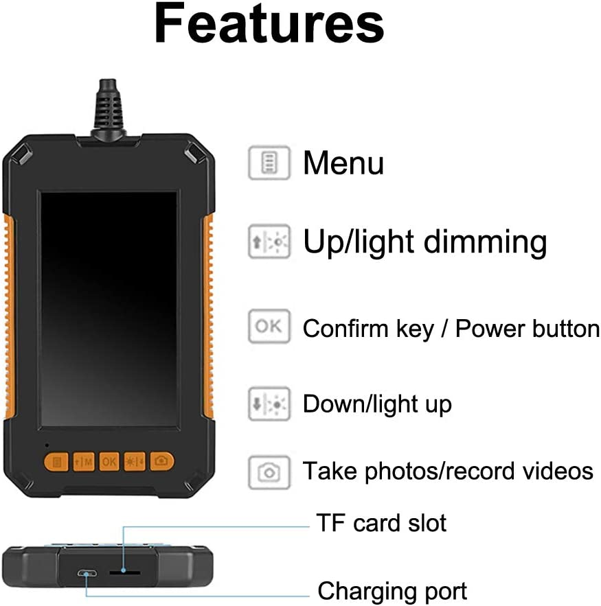 Inspektionskamera,1080P HD Endoskop Doppellinse LCD Bildschirm Wasserdichter