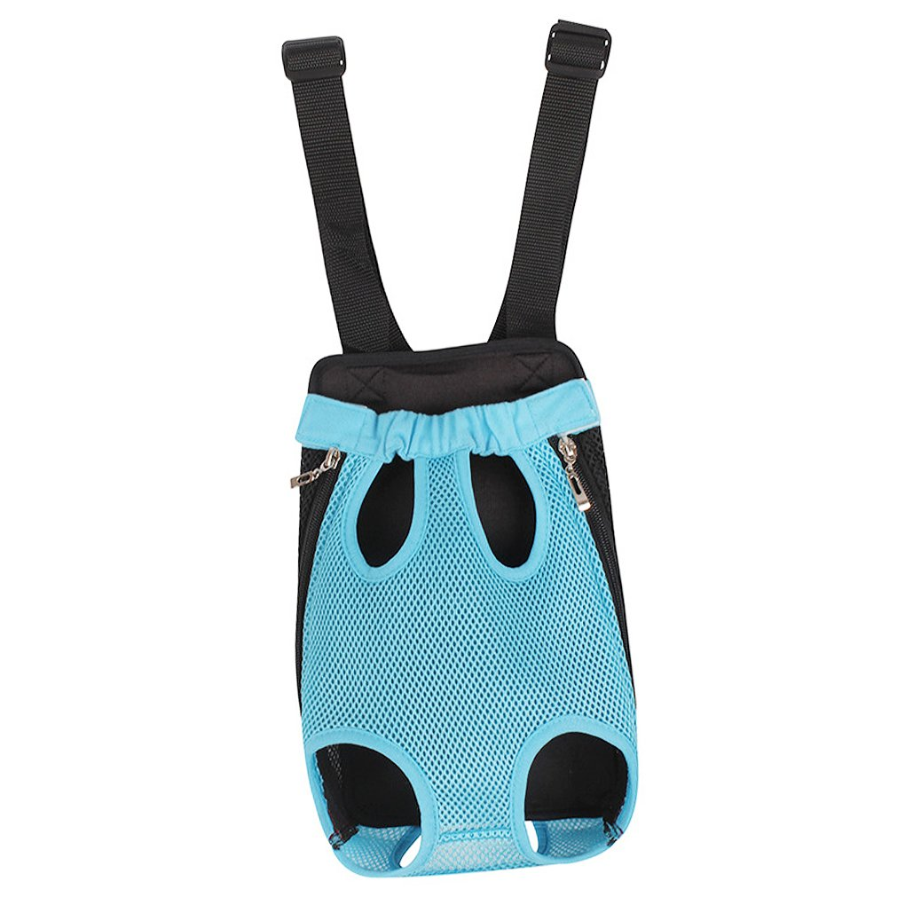 FakeFace Fashion Pet Dog Doggy Sling Legs Out Design Outdoor Travel Durable Nylon Portable Mesh Front Chest Pack Carrier Backpack Shoulder Bag For Dogs Cats Puppy Carriers Pet Tote Bag - Blue,M