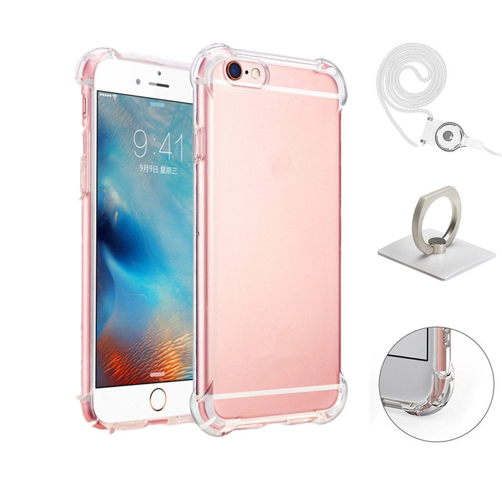 iPhone 6 Plus Case, Apple iPhone 6s plus Crystal Clear Shock Absorption Technology Bumper Camera Protection Soft TPU Cover with Ring Holder and Neck Lanyard Case for iPhone 6 plus 5.5 Inch 2016 - Clear Love your ear