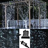 JnDee trade; Safe Voltage Fully Weatherproof Curtain Lights Christmas Brilliant Cool White 200 LED 2m*2m 20 Drops Plus a Massive 10M Lead Cable, 8 Modes, Safe Voltage (2M*2M 200LED, Cool White)