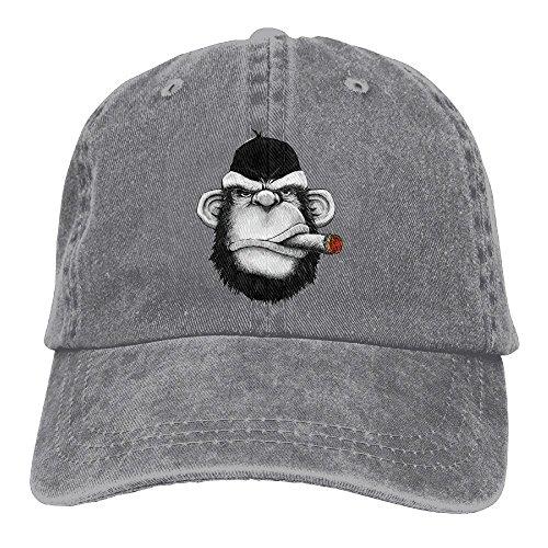 Cigar Monkey Art Classic Cotton Dad Hat Adjustable Plain Cap Custom Denim Baseball Cap For Adult