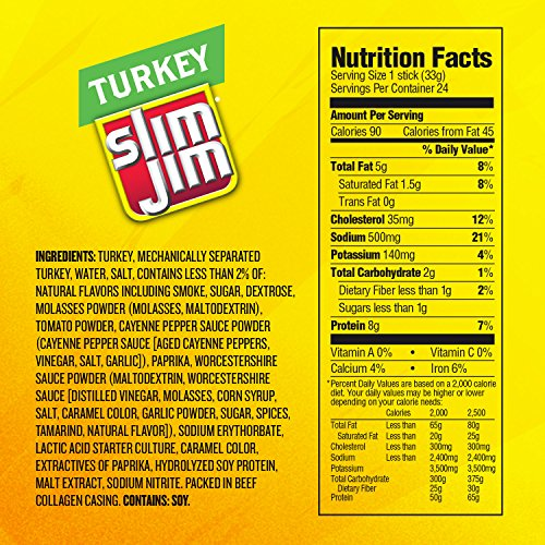Slim Jim Turkey Snack-Sized Smoked Meat Stick, Barbecue Flavor, .97 Oz. (24 Count)