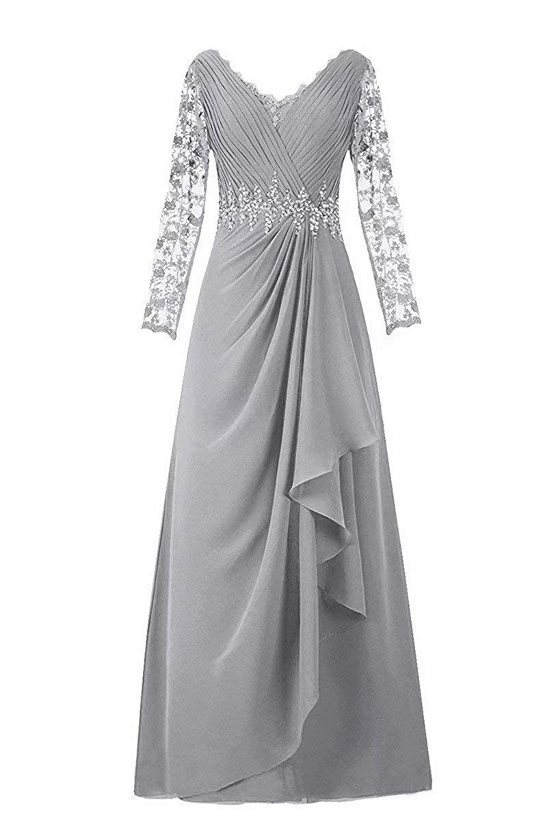 Womens Chiffon Long Sleeves Mother The Bride Formal Dress Evening Party Gowns