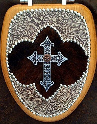 Western Decor Christian Cowboy Leather & Cowhide Cross Oak Toilet Seat by Signature Cowboy Studio