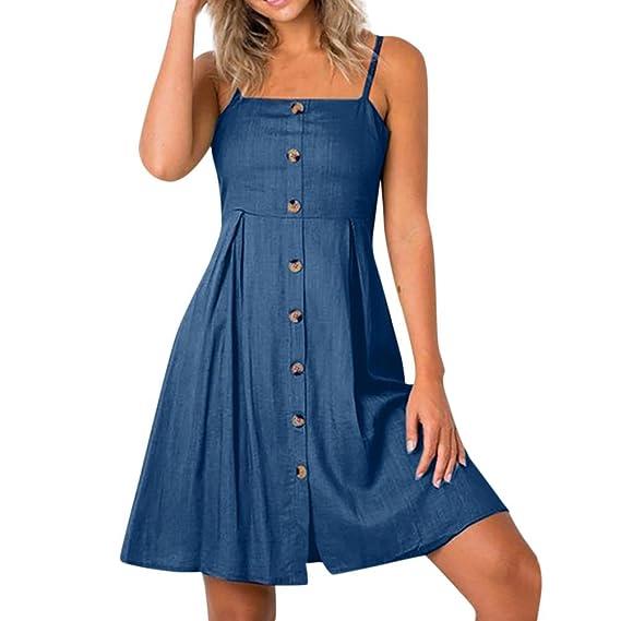 JYC Verano Falda Larga, Vestido De La Camiseta Encaje, Elegante Casual, Vestido Fiesta Mujer Largo Boda, Chica Niña Señoras Botón Arco Mini Playa Vestir: ...