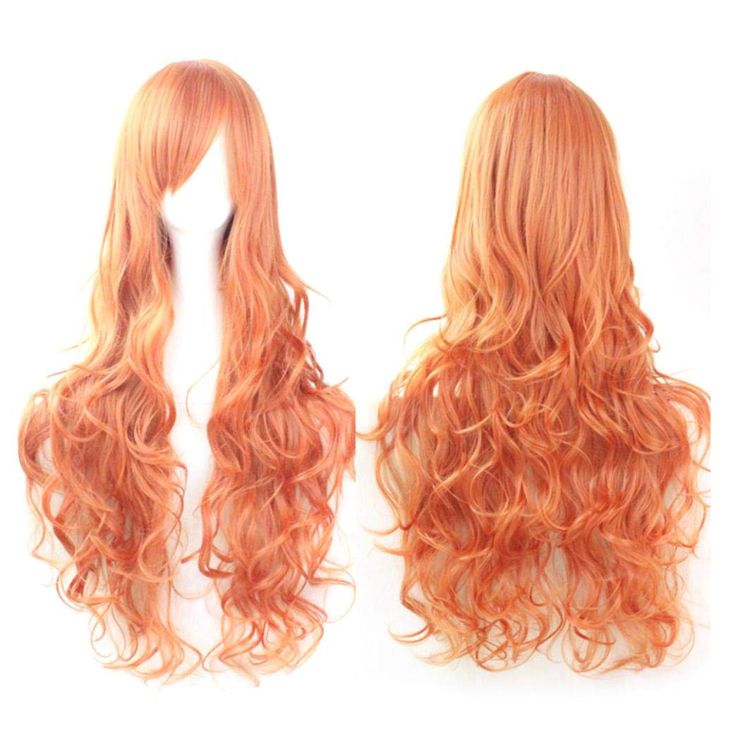 Jinjiums Women's Wigs,Fashion Funny Cosplay Costume Wigs Women Long Curl Wavy Red Halloween Party Anime Hair (N)