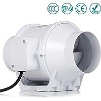 Ventilateur d'échappement, Hon&Guan 100mm Extracteur Ventilateur Conduit en Ligne Super Léger et Silencieux (100mm standard)