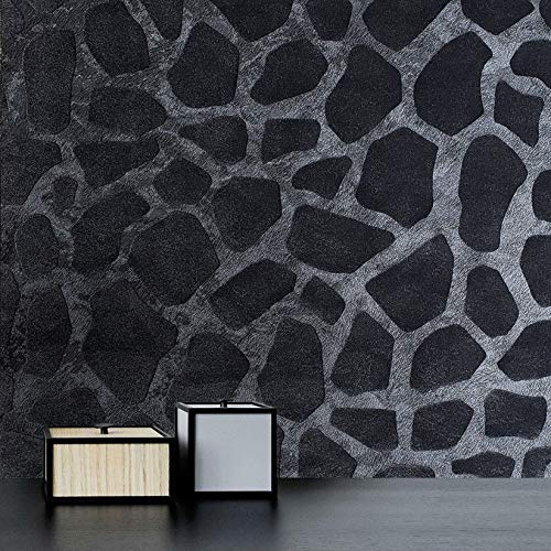 76 sq.ft rolls Italian Portofino wallcoverings modern embossed flocked Vinyl Wallpaper charcoal black metallic faux animal giraffe skin fur print flocking flock velvet texture velour wall coverings 3D ()