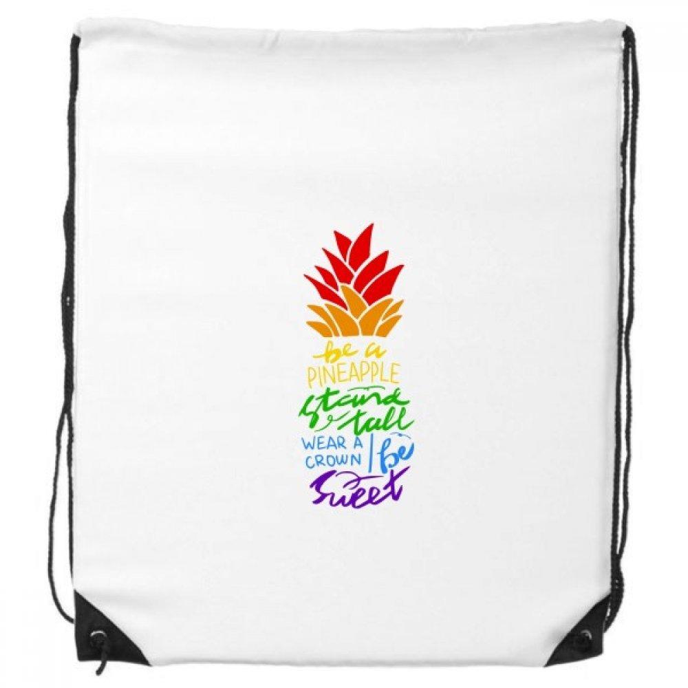 Pineapple LGBT Sac /à Dos avec Cordon de Serrage Motif Drapeau Arc-en-Ciel