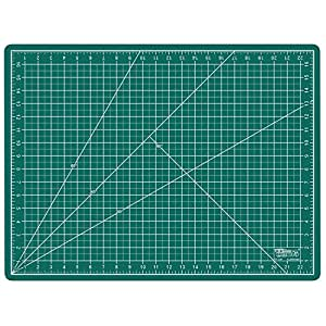"""US Art Supply 18"""" x 24"""" GREEN/BLACK Professional Self Healing 5-Ply Double Sided Durable Non-Slip PVC Cutting Mat Great for Scrapbooking, Quilting, Sewing and all Arts & Crafts Projects (Choose Green/Black or Pink/Blue Below)"""