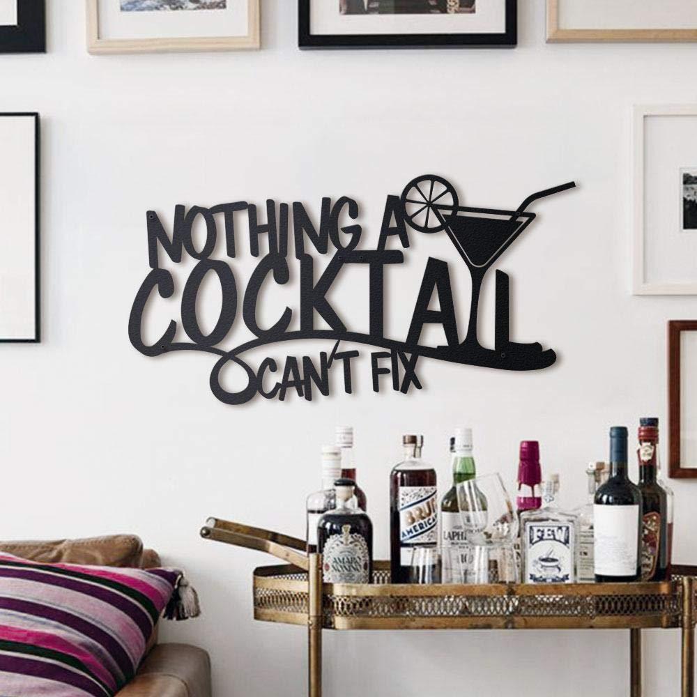 Frasi e Citazioni per Decorazione Parete Cocktail Targa da Parete in Metallo Nero 72 cm x 36 cm Hoagard