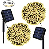 Solar String Lights - Outdoor Solar Christmas Lights 72ft 8 Modes 200 LED Fairy Lights - Ambiance lighting for Garden - Home - Patio - Lawn - Landscape - Xmas Tree (Warm White)
