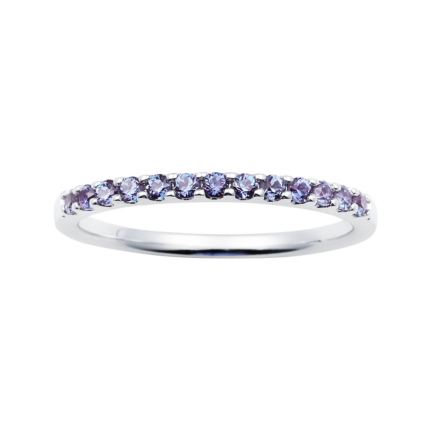14K White Gold 1/4 Cttw Created Alexandrite Stackable 2MM Wedding Anniversary Band Ring - June Birthstone, Size 5.5