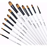 Filbert Paint Brushes Set, 12 PCS Artist Brush for Acrylic Oil Watercolor Gouache Artist Professional Painting Kits with…