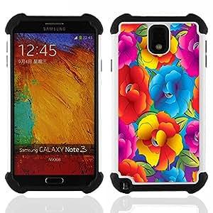 """SAMSUNG Galaxy Note 3 III / N9000 / N9005 - 3 en 1 impreso colorido de Altas Prestaciones PC Funda chaqueta Negro cubierta gel silicona suave (Vibrante Ramo del verano Flores"""")"""