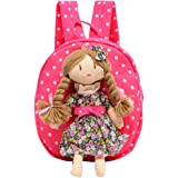Cartoon Canvas Backpack Schoolbag Travel Outdoor School Bag for 1-3 Years Old Baby Girl (Watermelon Red)
