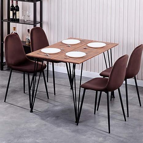 GOLDFAN Table de Salle /à Manger et 4 Chaises Rectangulaire Table /à Manger en Verre et Chaises Moderne,Noir