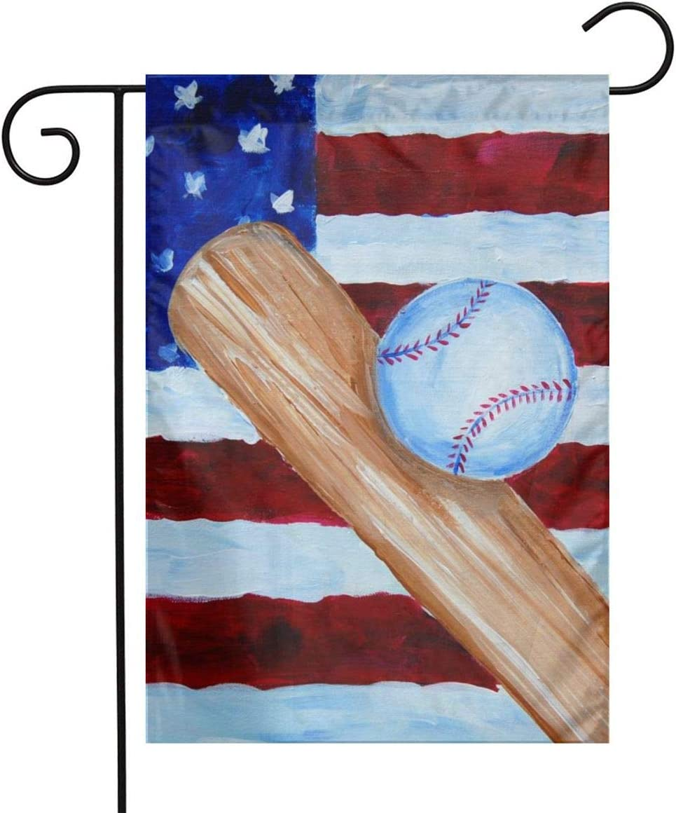 LQLDHJ American Flag Baseball Painting Garden Flag Stand Banner Outdoor Decor for Homes Gardens 12 X 18 Inches