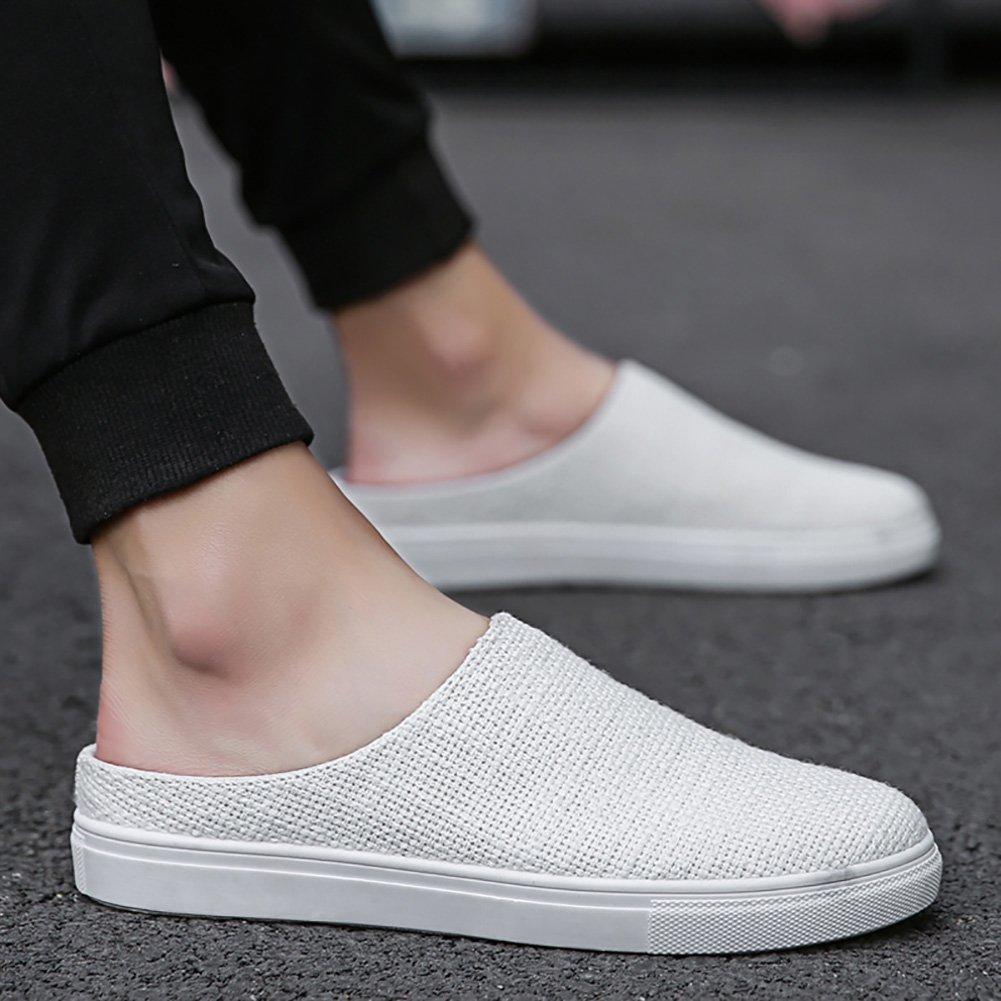 Zapatillas Slip-on de tela de hombre Zapatos Zapatillas de playa de malla de recorte de sandalias de verano (39~44 tallas) (Color : Blanco, Tamaño : 41) 41|Blanco
