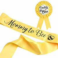 HAPPYLAND Sash and Tinplate Badge Mommy to Bee and Daddy to Bee Baby Shower