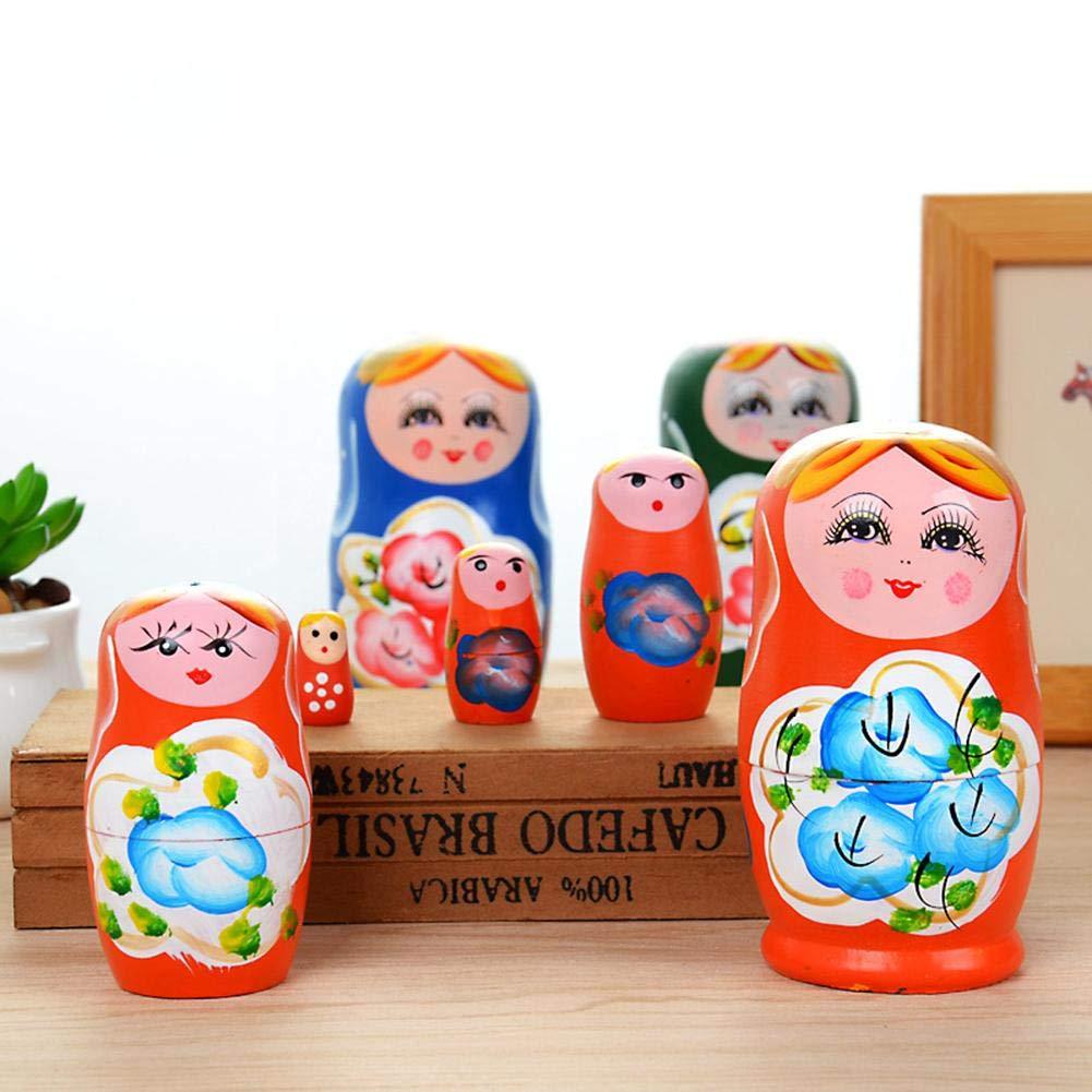 Blister Juego de mu/ñecas artesanales de madera matryoshka rusa de cinco capas Pintado Juguete de anidaci/ón de mu/ñecas starter Matryoshka rusa