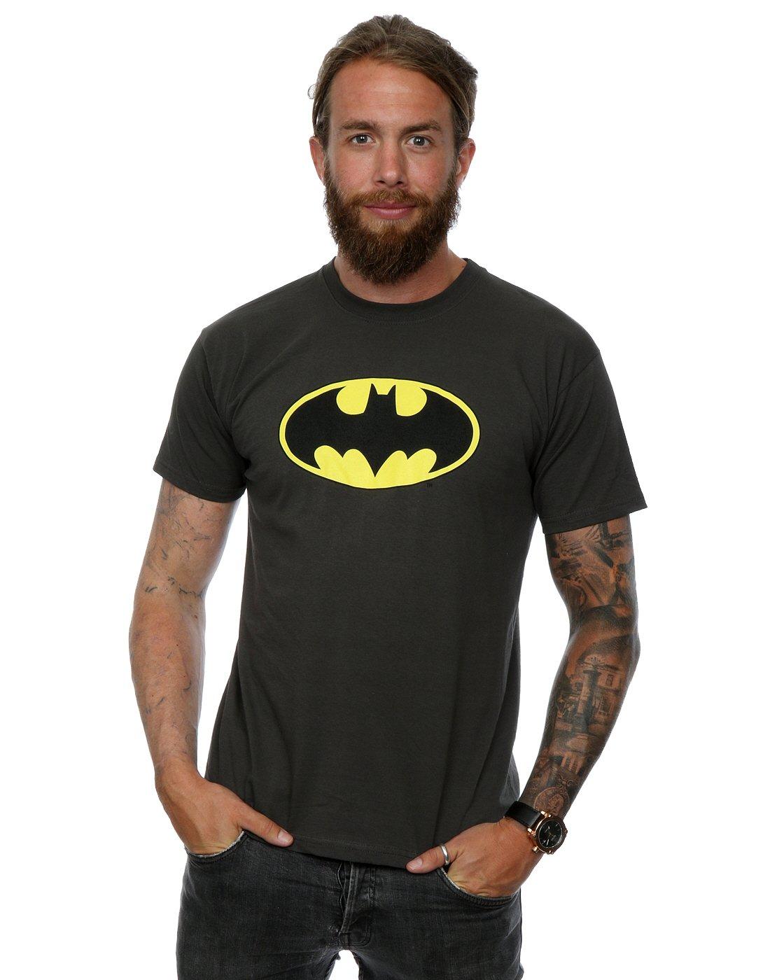 DC Comics Men's Batman Logo T-Shirt XX-Large Light Graphite