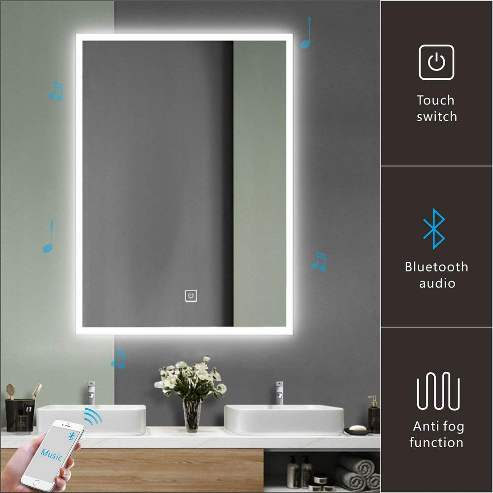 Homecart Bathroom LED Mirror 24''X32'' Wall Mount Bluetooth Speaker Backlit Anti-Fog Function Wall Mounted w/Sensor Touch by Homecart