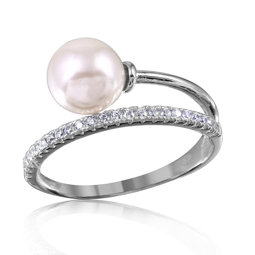 CloseoutWarehouse Synthetic Pearl with Clear Cubic Zirconia Overlapping Band Ring Rhodium Plated Sterling Silver